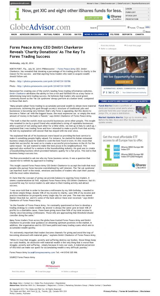 Forex Peace Army - Globe Advisor - Charitable Donations Provide Successful Forex Trades