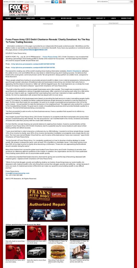 Forex Peace Army - KVVU-TV FOX-5 (Las Vegas, NV) - Charitable Donations Provide Successful Forex Trades