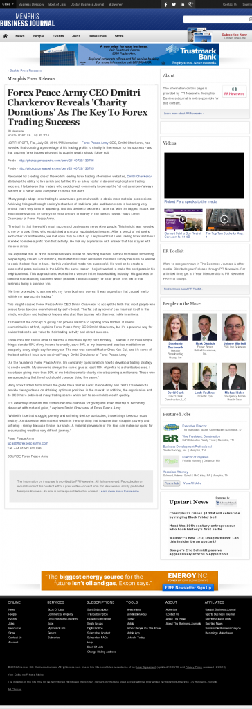 Forex Peace Army - Memphis Business Journal - Charitable Donations Provide Successful Forex Trades