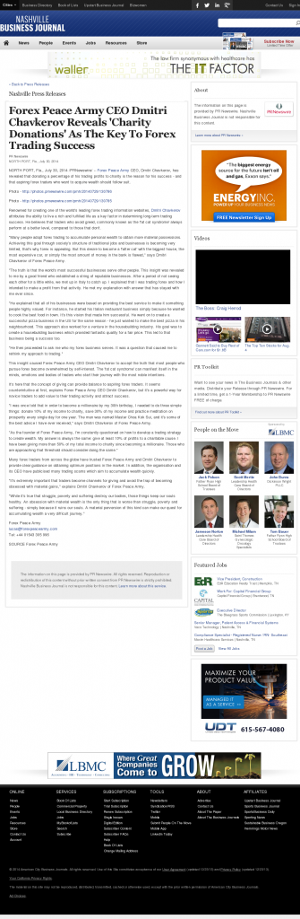 Forex Peace Army - Nashville Business Journal - Charitable Donations Provide Successful Forex Trades