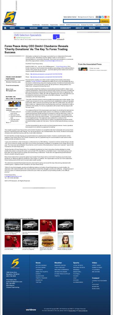 Forex Peace Army - WMC NBC-5 (Memphis, TN) - Charitable Donations Provide Successful Forex Trades