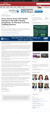 Forex Peace Army -  Dayton Business Journal  - Charitable Donations Provide Successful Forex Trades