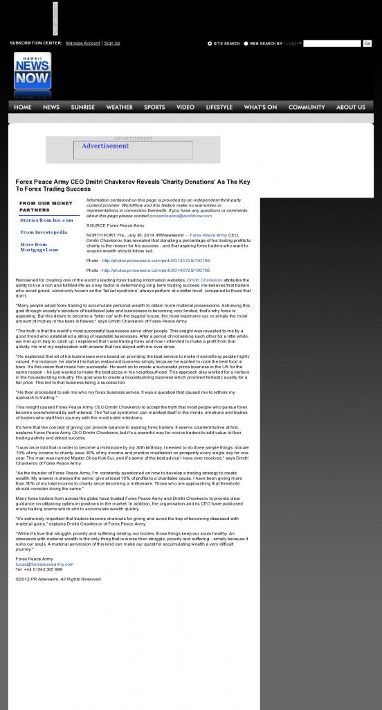 Forex Peace Army - KHNL-TV NBC-8 (Honolulu, HI) - Charitable Donations Provide Successful Forex Trades