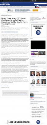 Forex Peace Army -  Philadelphia Business Journal  - Charitable Donations Provide Successful Forex Trades